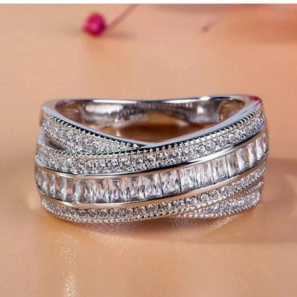 Fashion 925 Silver Ring Emerald Cut White Sapphire